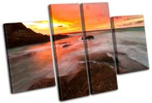 Waves Orange Sunset Seascape - 13-0177(00B)-MP17-LO